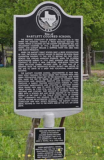 Bartlett Colored School Historical Marker Bartlett Texas Williamson County Historical Marker Williamson County Historical