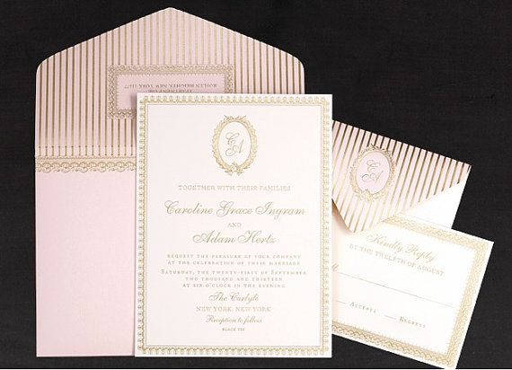 Laduree French Pink Wedding Invitations By