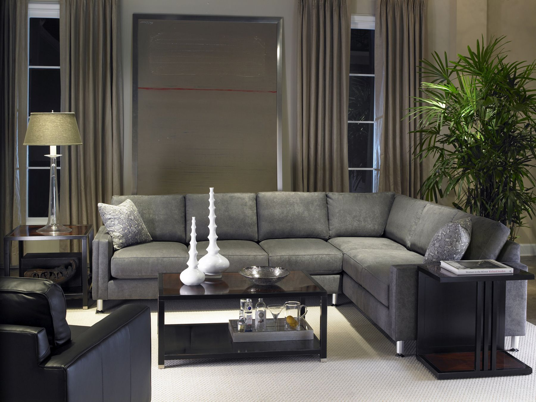 We Love These Sky High Window Panels Paired With A Low Lying Sectional Sofa