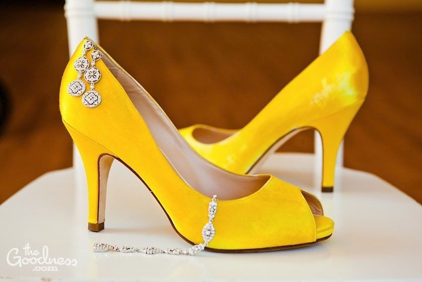 Yellow Heels for a wedding.  I love the idea.