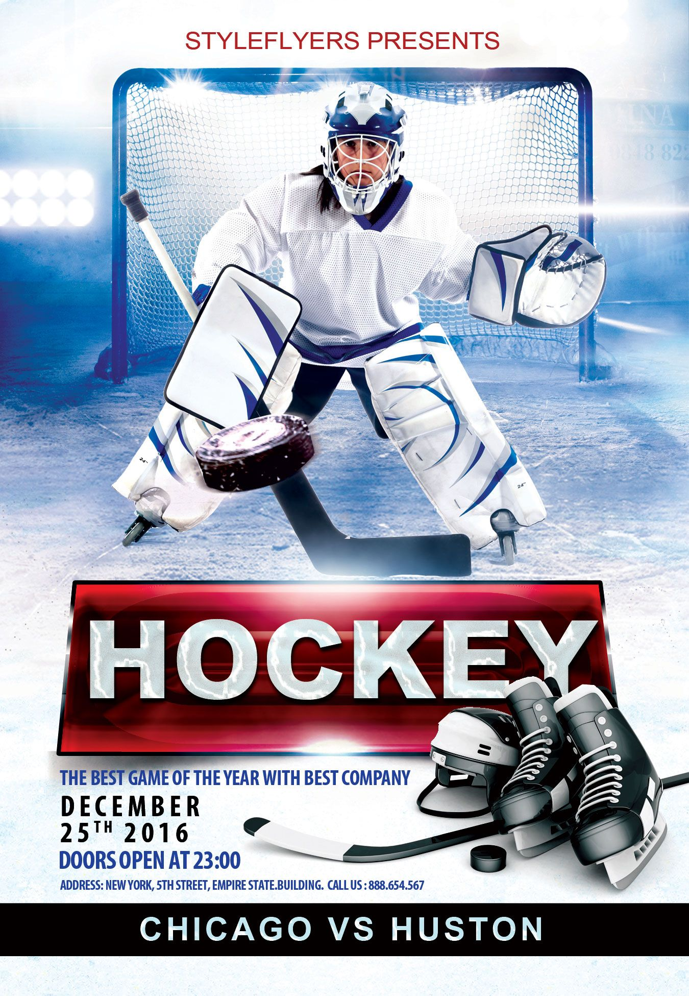 This Free Hockey PSD Flyer Template