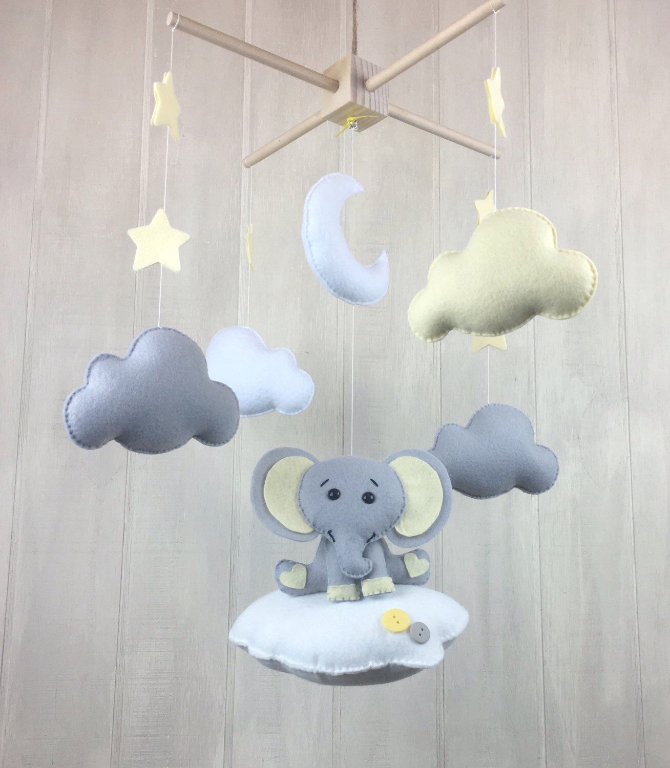 Elephant mobile Elephant clouds and stars mobile baby mobile