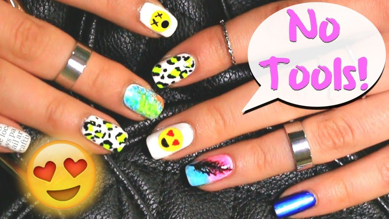No Tools Needed 6 Easy Nail Art Designs For Beginners Youtube