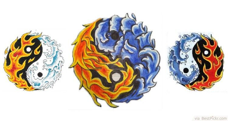 Yin Yang Fire And Water Tattoo Designs