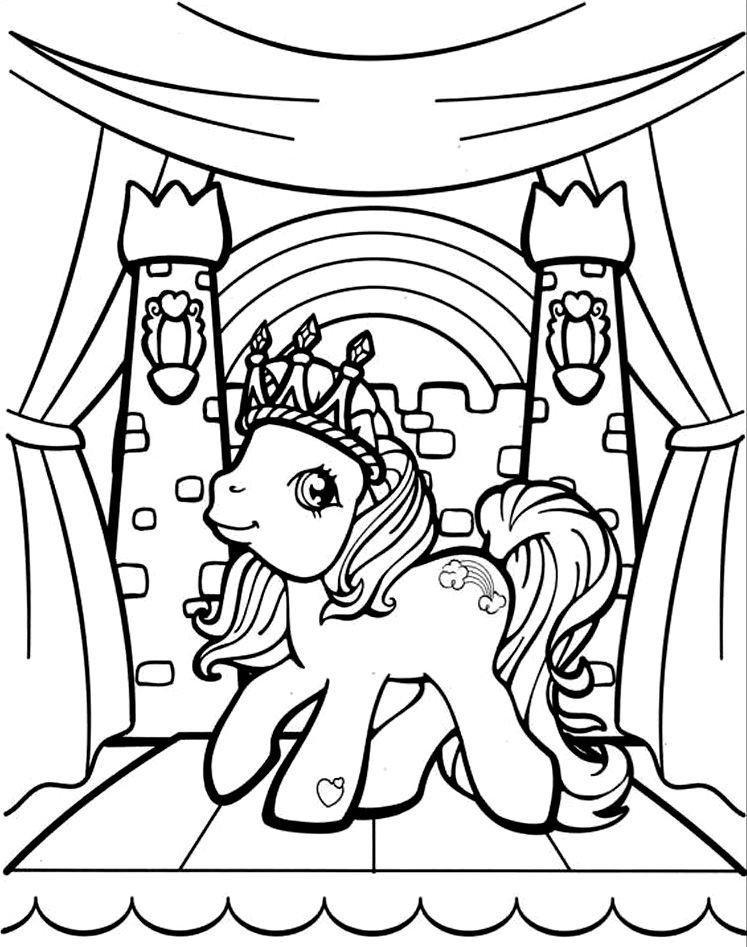 Coloreaza Plansa de colorat Micul meu ponei cu coroana pe