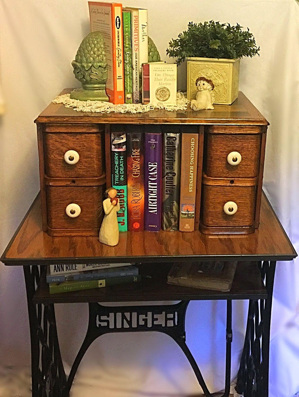 Vintage Singer Sewing Cabinet Drawer Upcycled Table Shelf Organizer End By Grammyandgrampys On Etsy