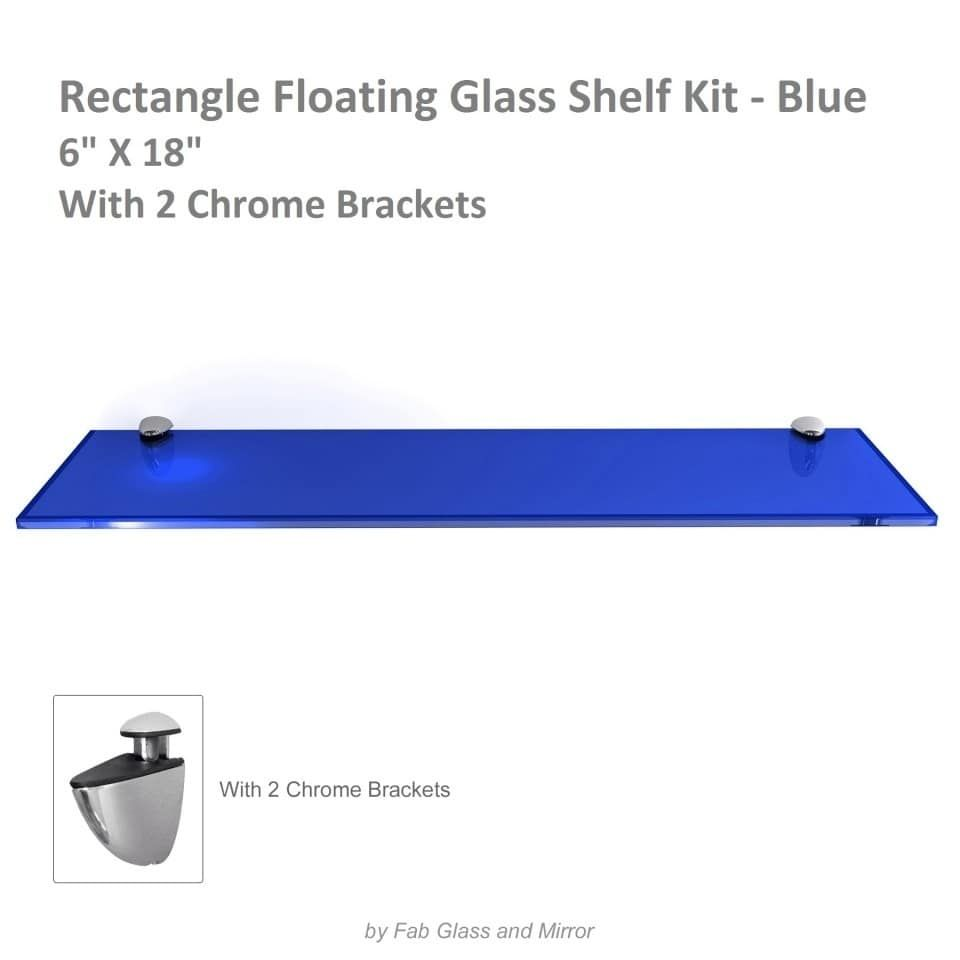 Rectangle Floating Glass Shelf Kit 3/8 Inch Thick Tempered with Many ...