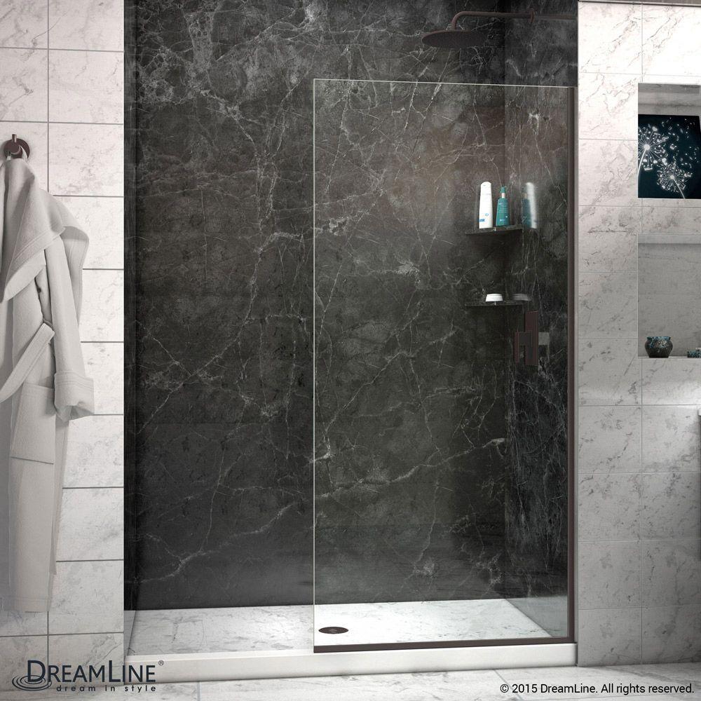 Linea 30 Inch X 72 Inch Semi Frameless Fixed Shower Door In Oil