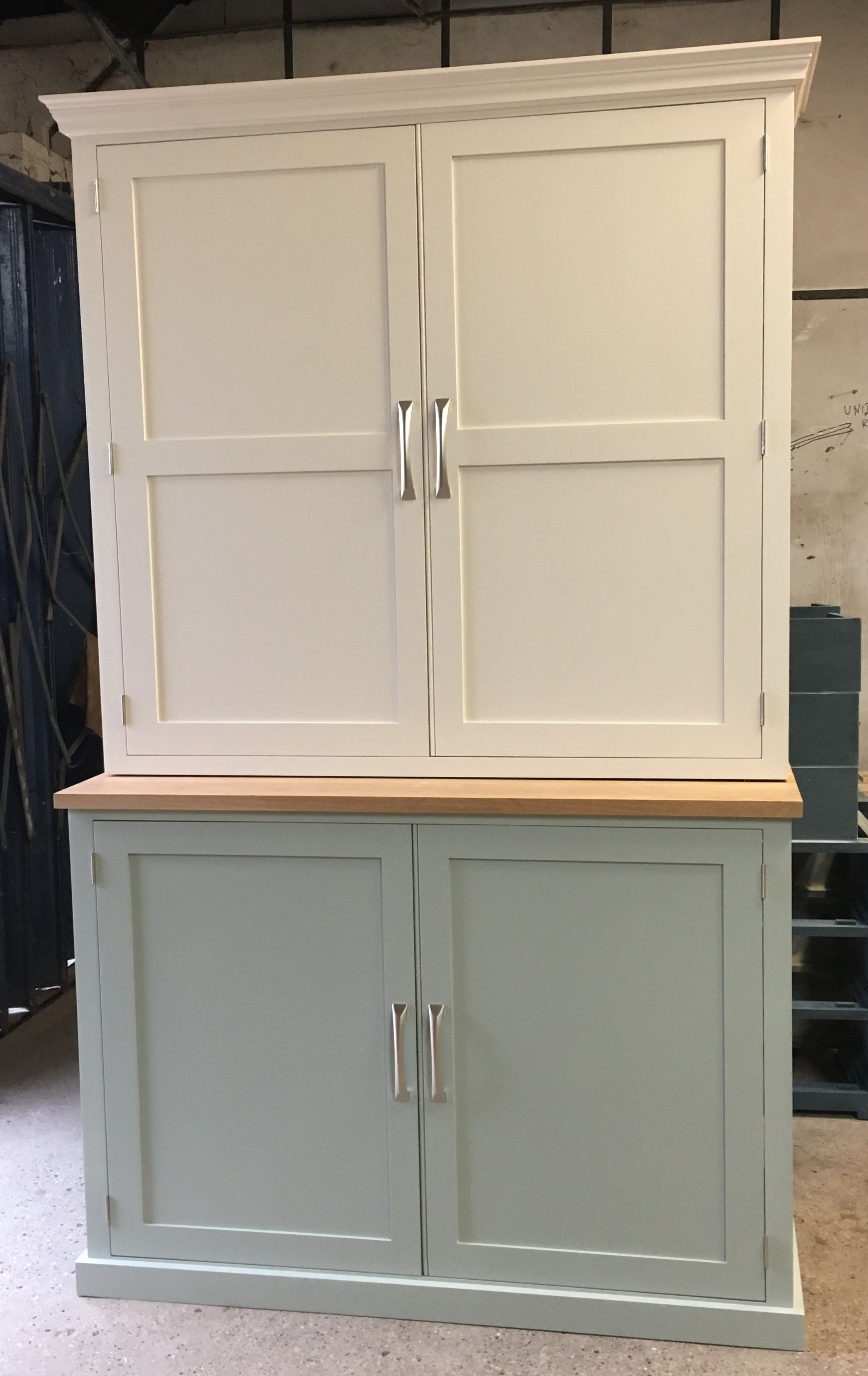 Large Kitchen cupboard painted in Fu0026B Mizzle