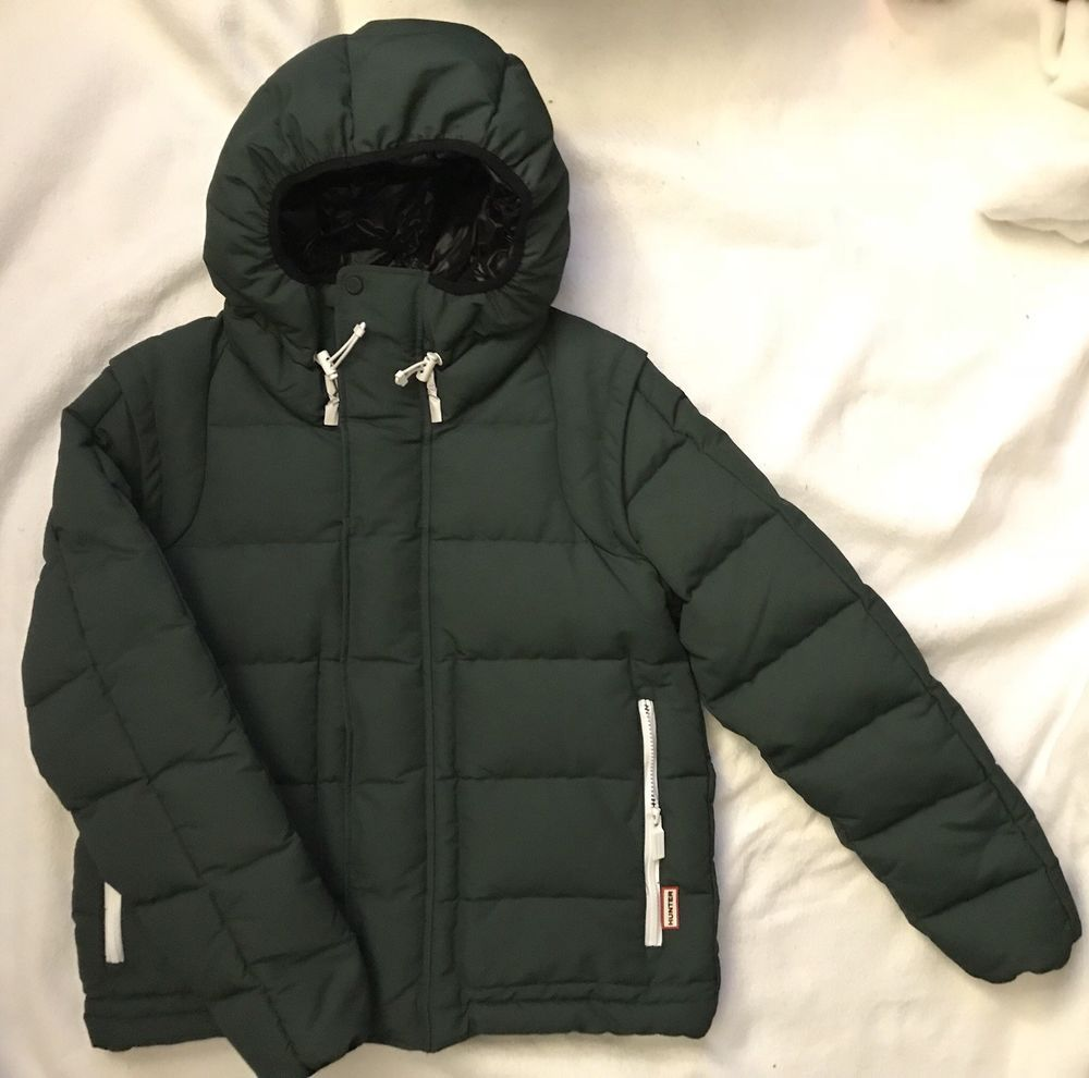 Hunter Boots Brand Mens Down Insulated Puffer Jacket Coat Green Small 395 Nwt Fashion Clothing Shoes Accessories Mensclo Jackets Coats Jackets Green Coat [ 990 x 1000 Pixel ]