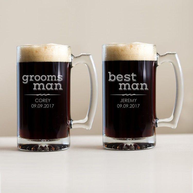 Wedding Gift From Groomsmen: Custom Engraved Groomsman Beer Mug