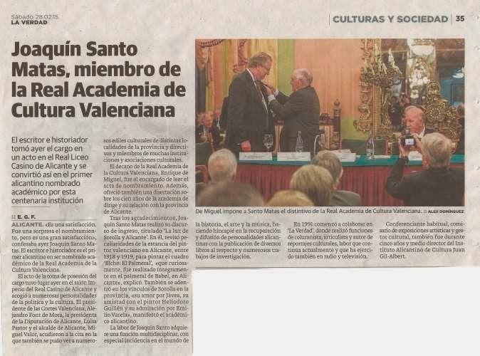 Espejo De Alicante Joaquín Santo Matas Es Miembro De La Real Academia De Cultura Valenciana Nota De Prensa Academia Lo Real