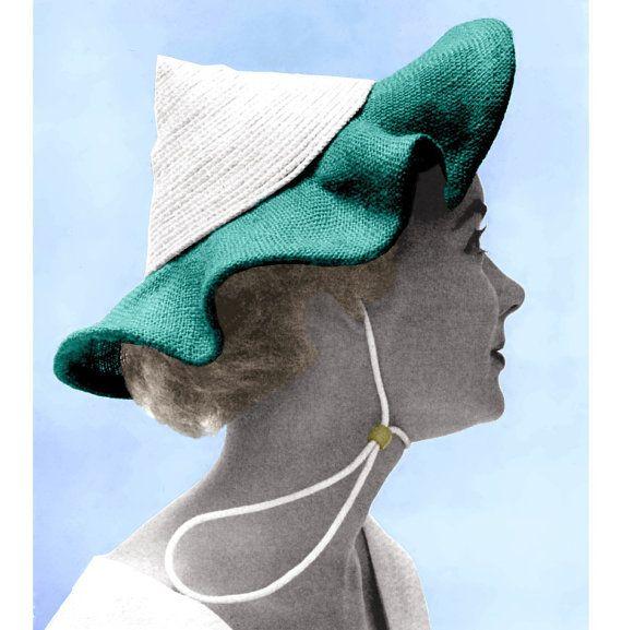 Vintage 1950s Pixie Sun Hat Ruffled Summer