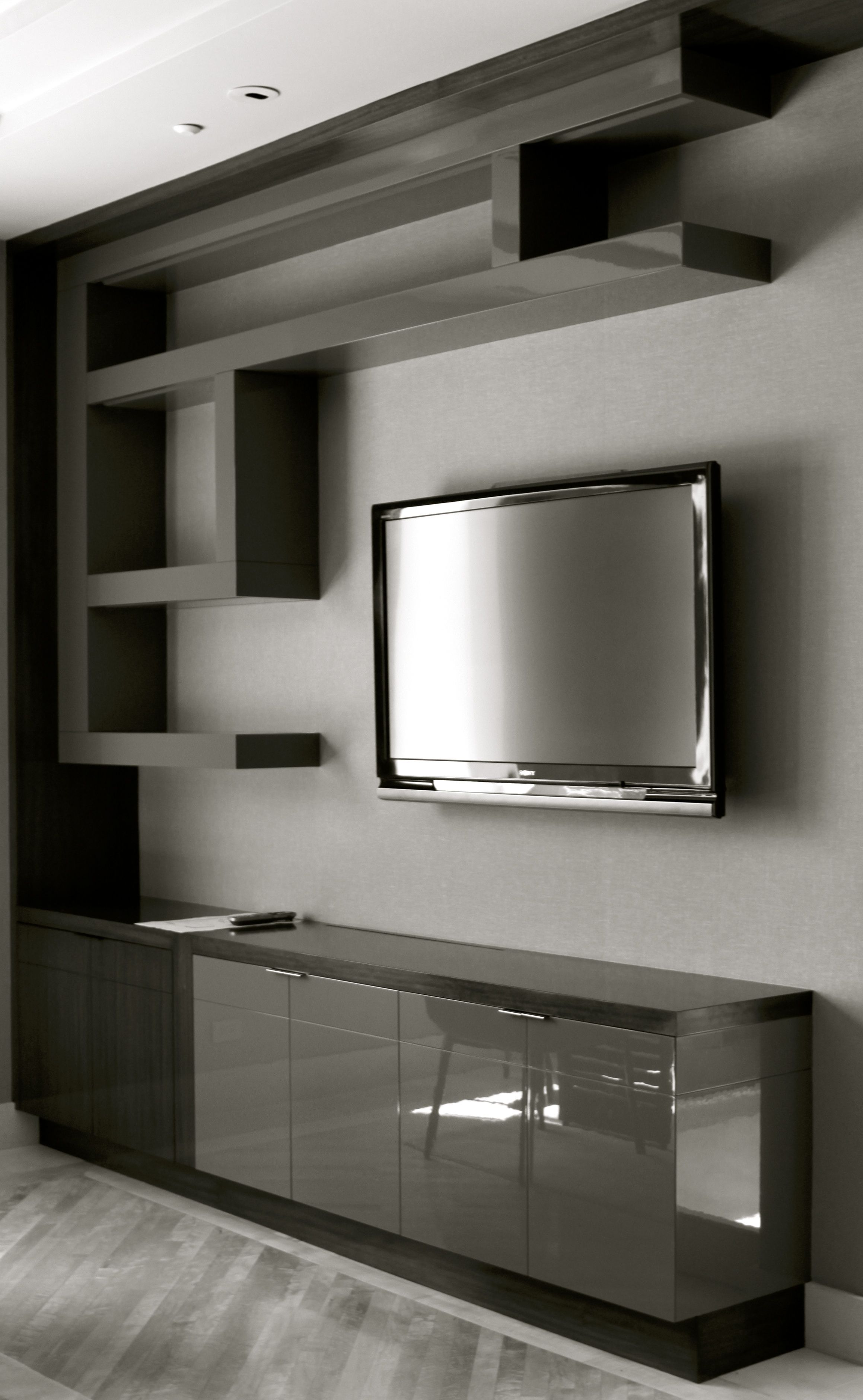 Tv Hall Cabinet Living Room Furniture Designs Wooden Tv: Sculptural Lacquered Shelving & Oriental Wood Cabinetry