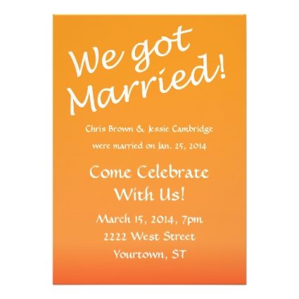 Elopement ideas!: We Got Married! post wedding party invitation ...