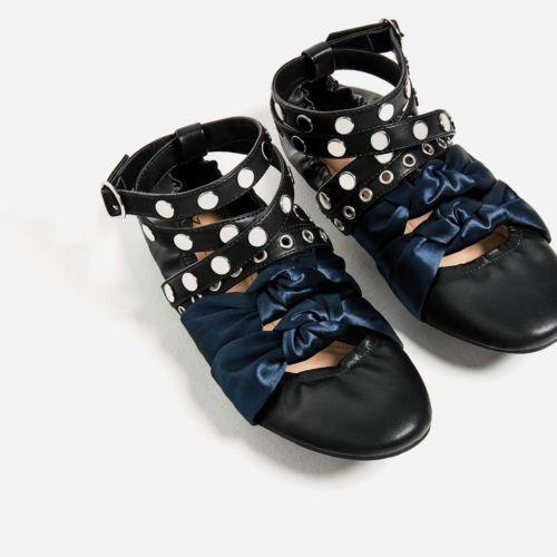 NEW Genuine Zara Shoes Special Edition Contrast straps ballerinas US 65 Or 37
