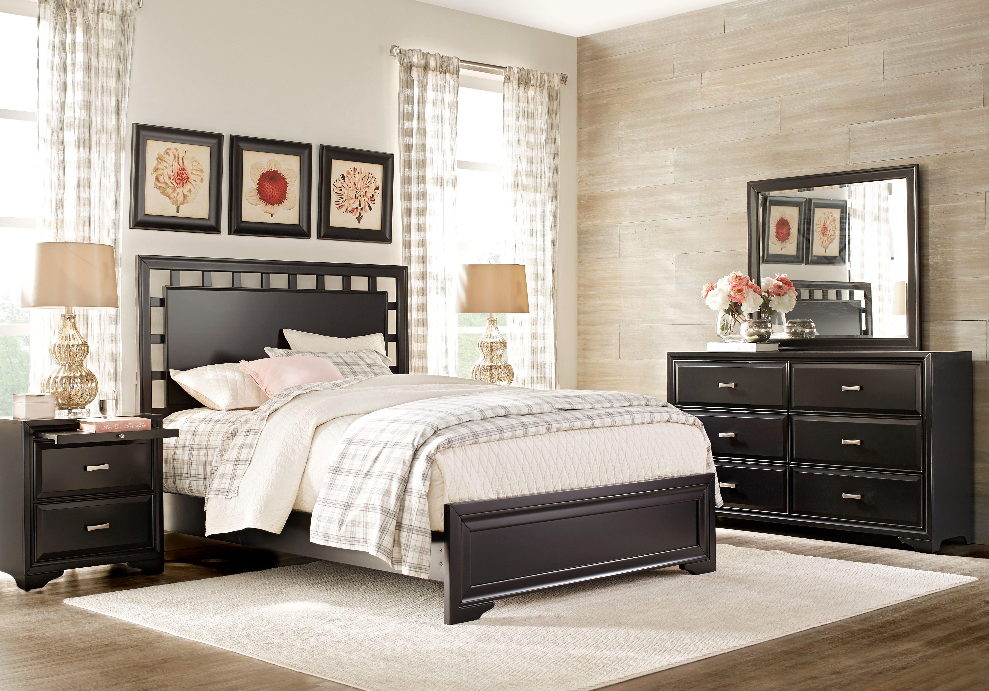 Belcourt black 5 pc queen lattice bedroom cheap bedroom