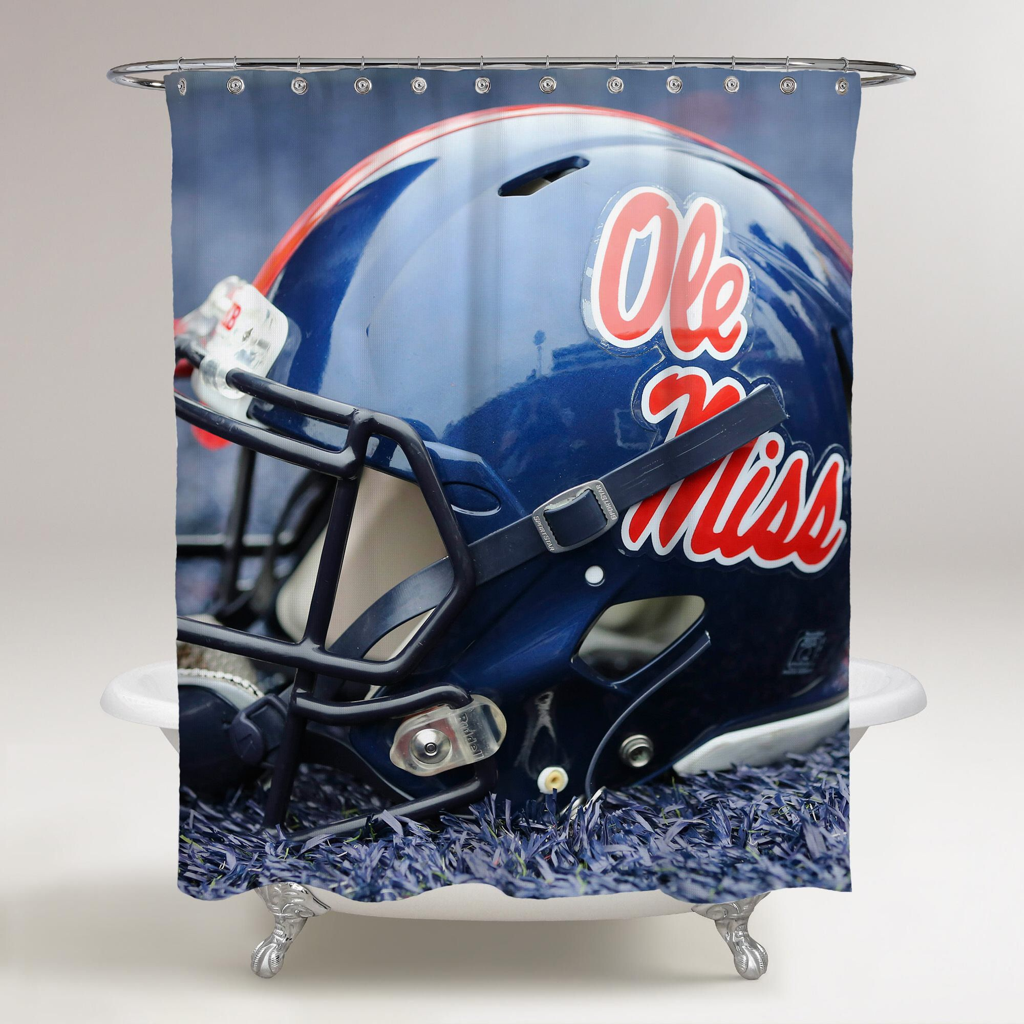 OLE MISS REBELS RED HELMET WALLPAPER Printed Shower Curtain Bathroom Decor Price FREE Shipping