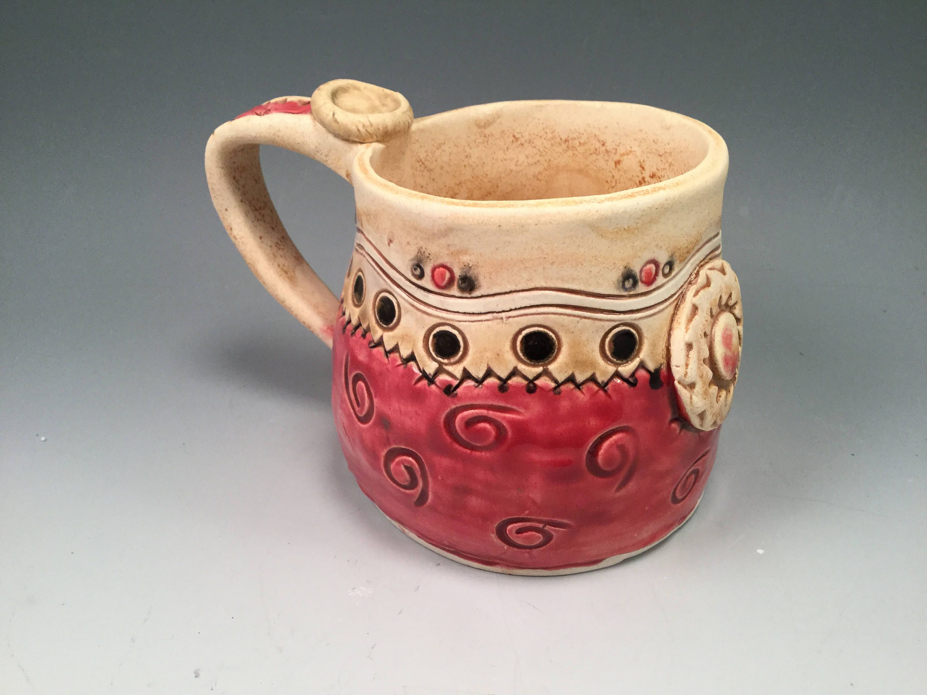 Pottery Mug Large Coffee Red Ceramic Extra