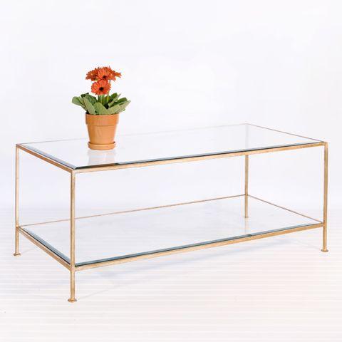 "taylor rectangular gold leaf coffee table 18"" h x 48"" w x 24"" d"