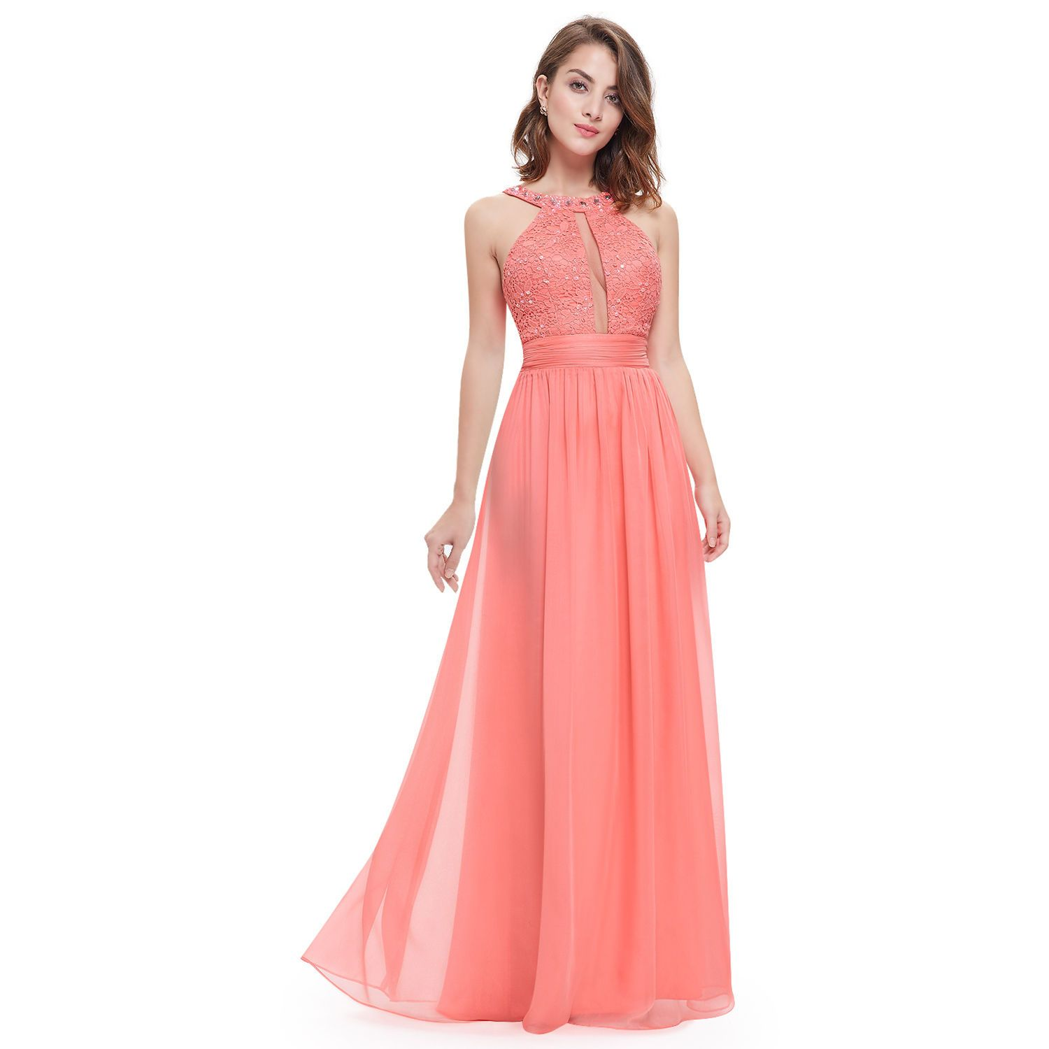 Nice halter bridesmaid dress sexy homecoming party prom ball gown