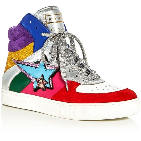 Marc Jacobs Eclipse Embellished High Top Sneakers ($325) ❤ liked on Polyvore featuring shoes, sneakers, rainbow multi, leather high top sneakers, hi tops, rubber sole shoes, leather hi top sneakers and rainbow shoes