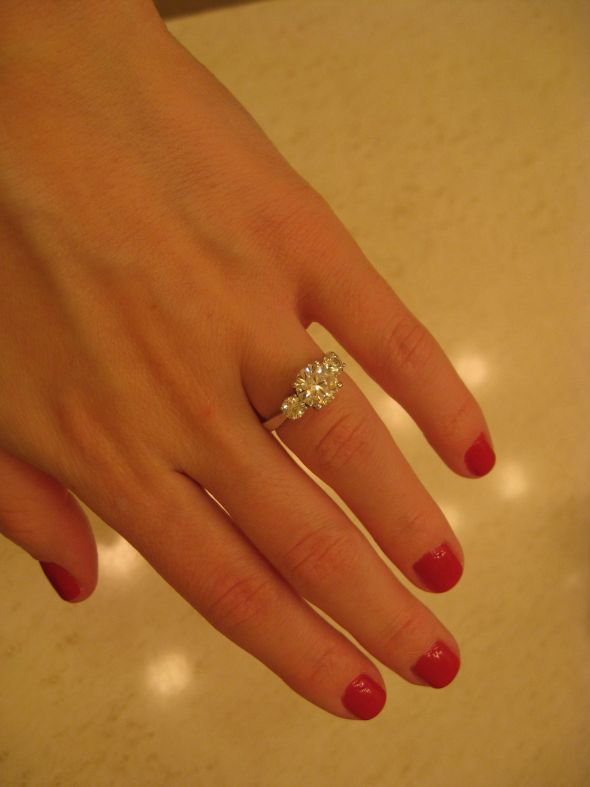 Show me your 3 stone rings with carats of stones wedding 3