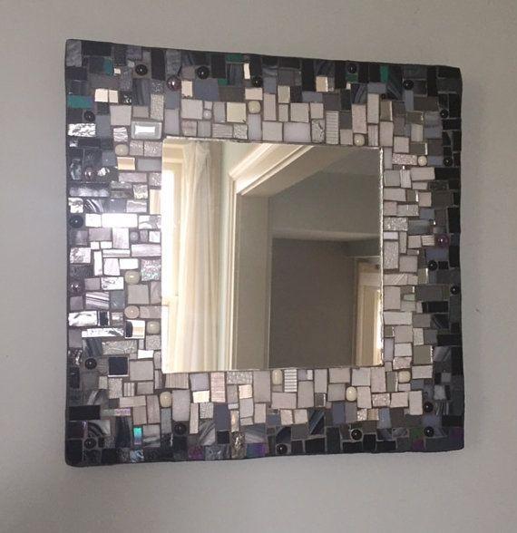 Mosaic Mirror Black and White by MEmosaicsandglass on Etsy ...
