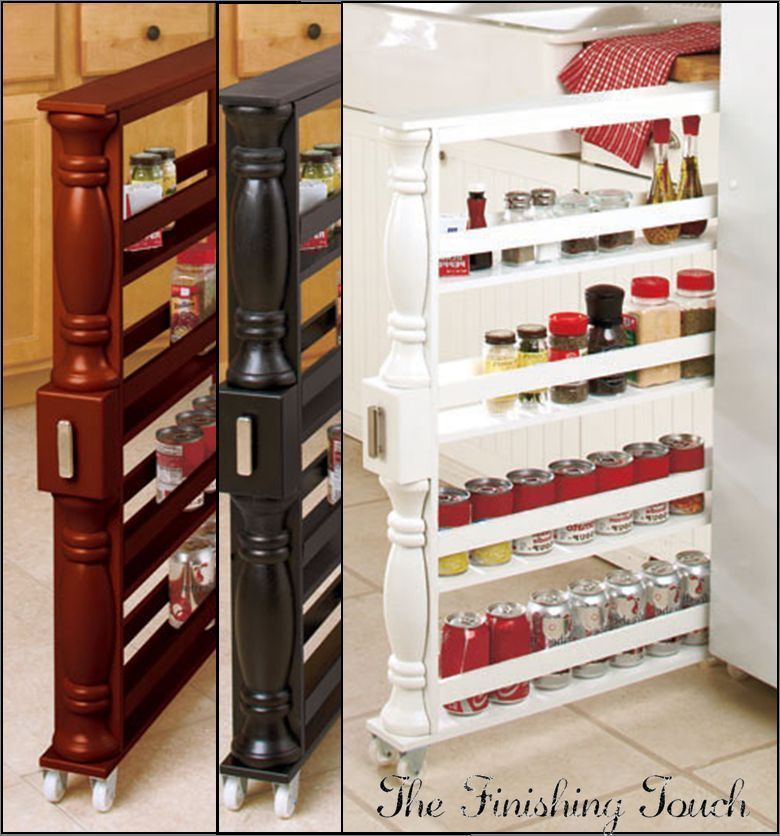 ROLLING SPICE RACK U0026 SLIM CAN HOLDER Kitchen Shelf Slim Storage Cabinet 3  Colors