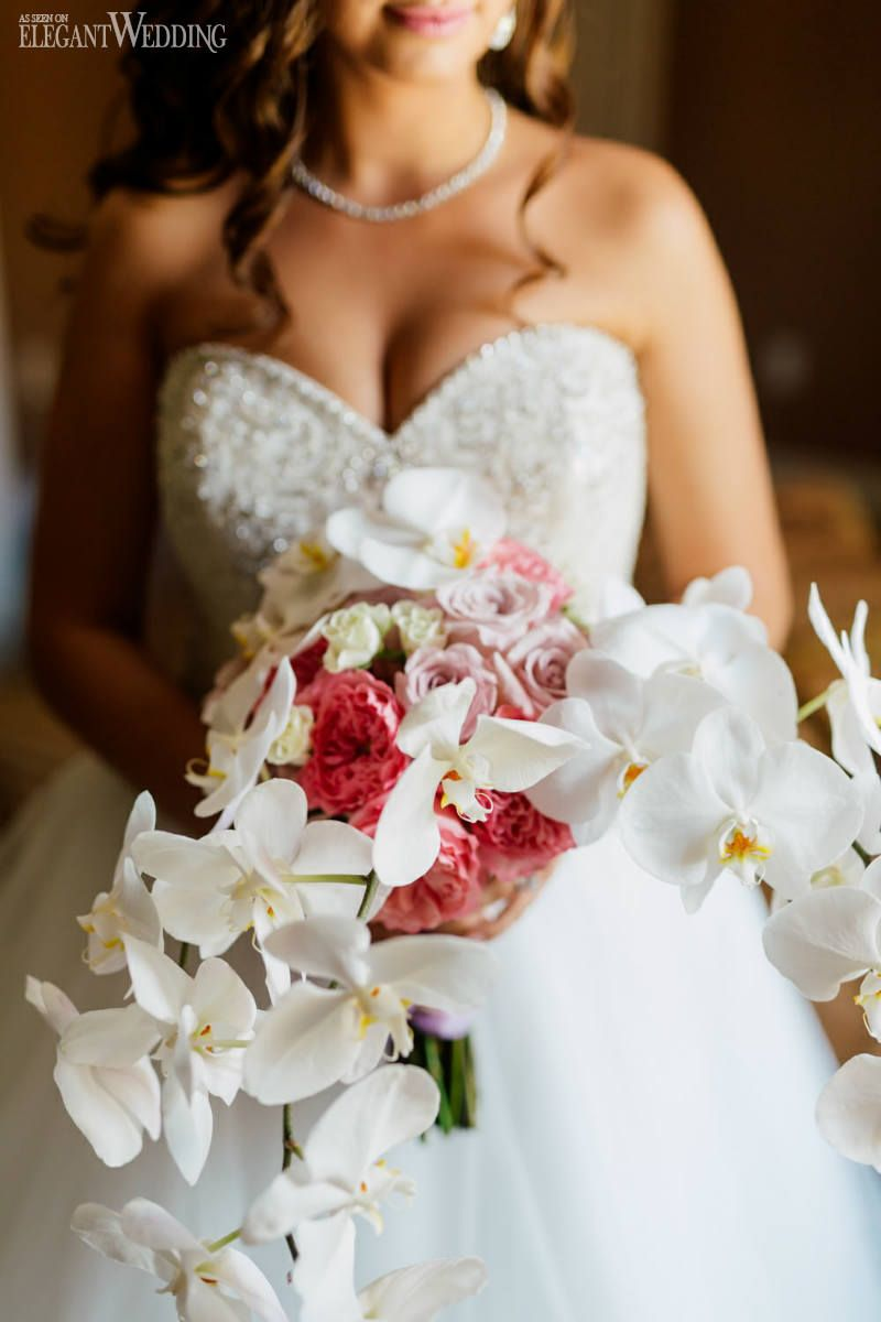 White orchid bouquet with pink and purple blooms wedding bouquets