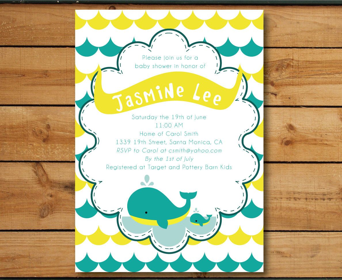 Whale Under The Sea - Baby Shower Invitation (Gender Neutral) DIY ...