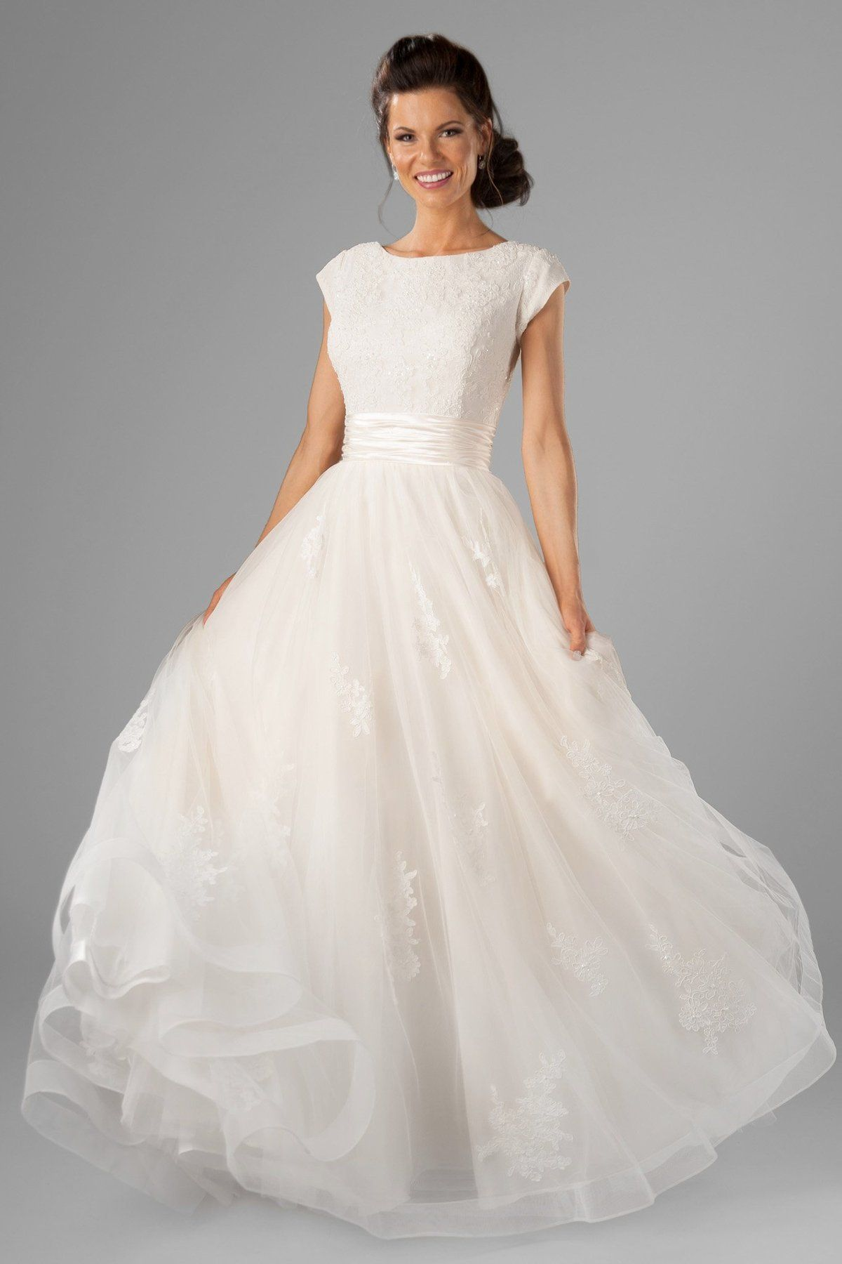 Stunning light lace wedding gown, style Lorelai, is part