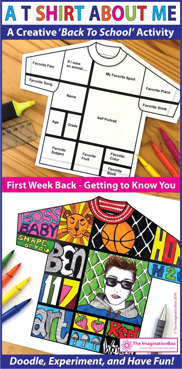 All About Me Back To School T Shirt Art Writing Activity Arts