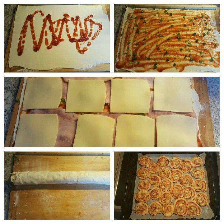 Pizza slimáky Suroviny: lístkové cesto, kečup, oregano, jarná cibuľka, šunka, plátkový syr
