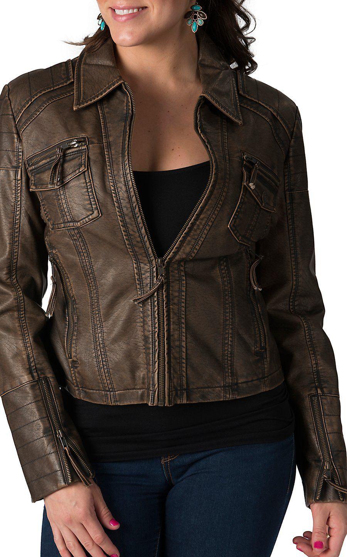 Cripple Creek Women S Antique Brown Faux Leather Jacket Western Wear For Women Brown Faux Leather Jacket Outerwear Women [ 1440 x 900 Pixel ]