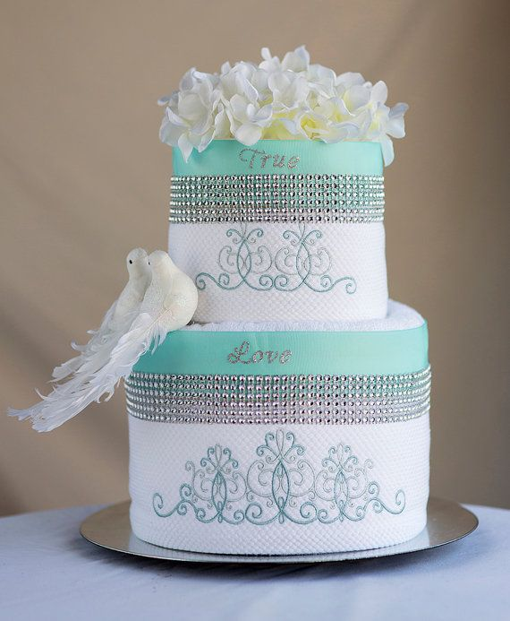 """The """"True Love"""" Towel Cake Bridal Shower Gift or Centerpiece on"""