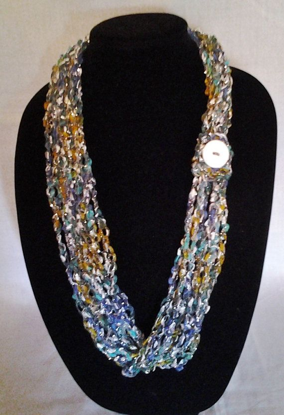 Blue, Teal, Gold, and White Chain Crochet Ladder Ribbon Yarn ...