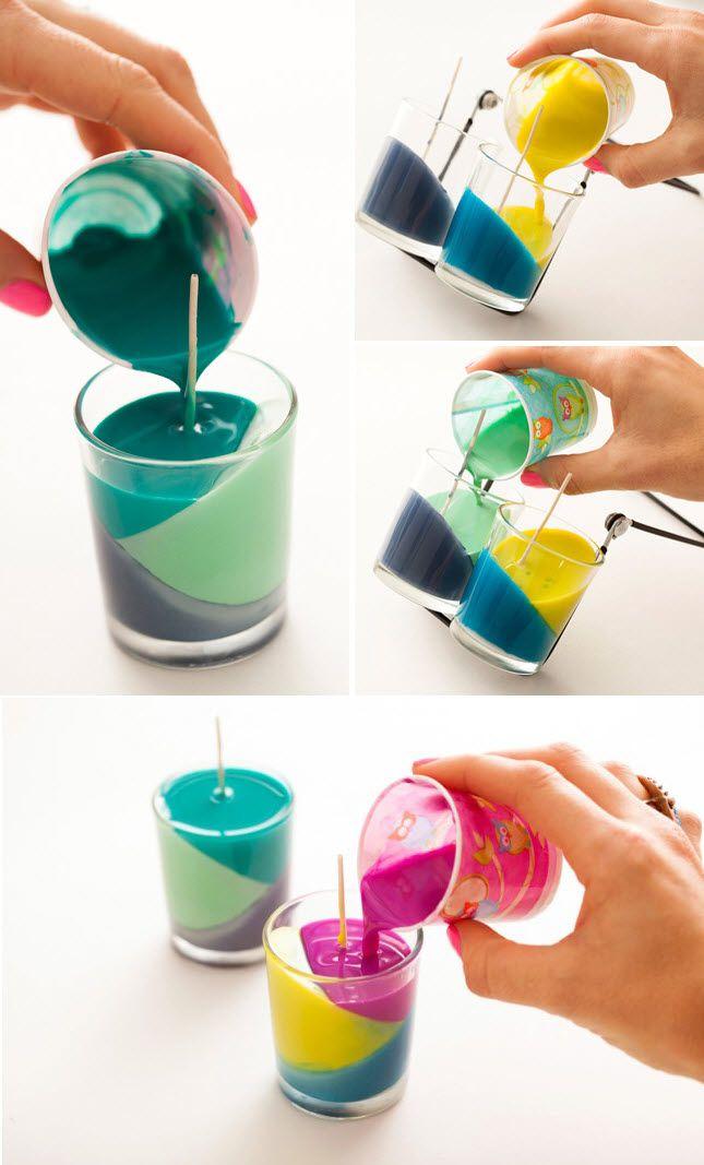 fabriquer des bougies colorées   déco diy   pinterest   bougies