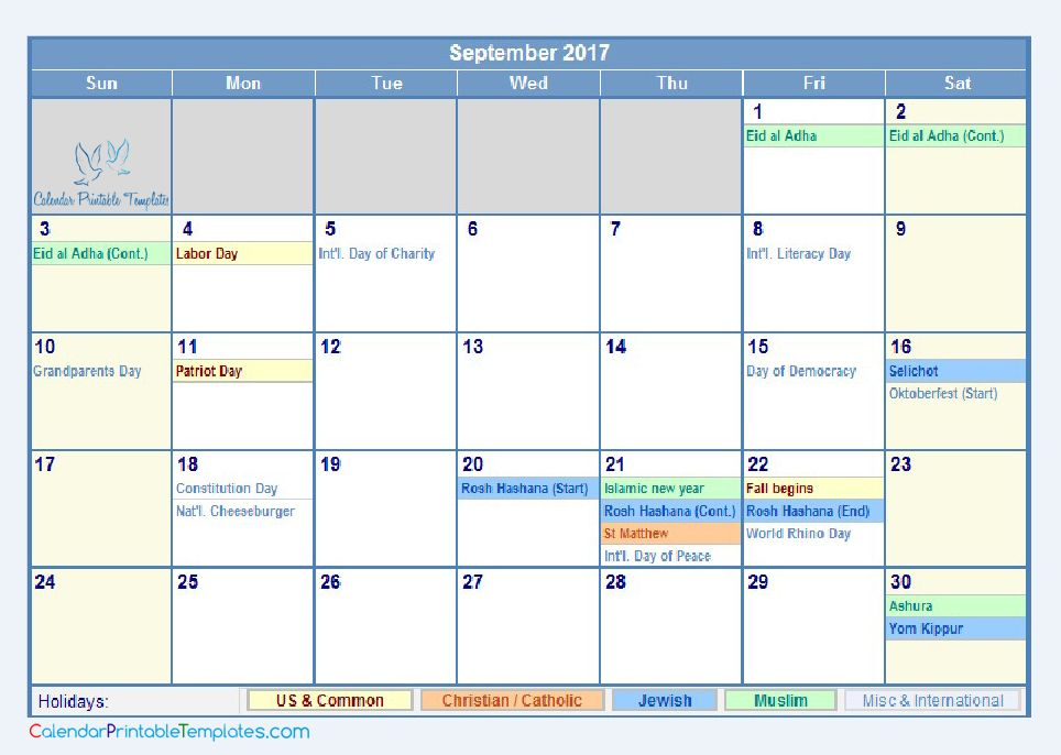 September 2017 Calendar with Holidays http://www ...