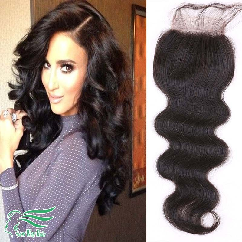 7a Grade 4*4 Peruvian Virgin Hair Lace Closure Body Wave Free/Middle/