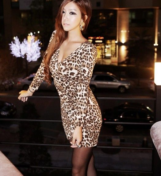Tara Jiyeon Brown Leopard dress : Cute Cheap Clothing | Buy ...