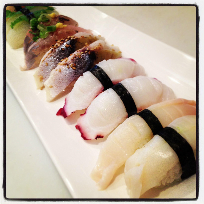 Some of our specials! Sea Scallop, Squid, Japanese Mackerel, Spanish Mackerel, Tako (octopus), & Conch Sushi!