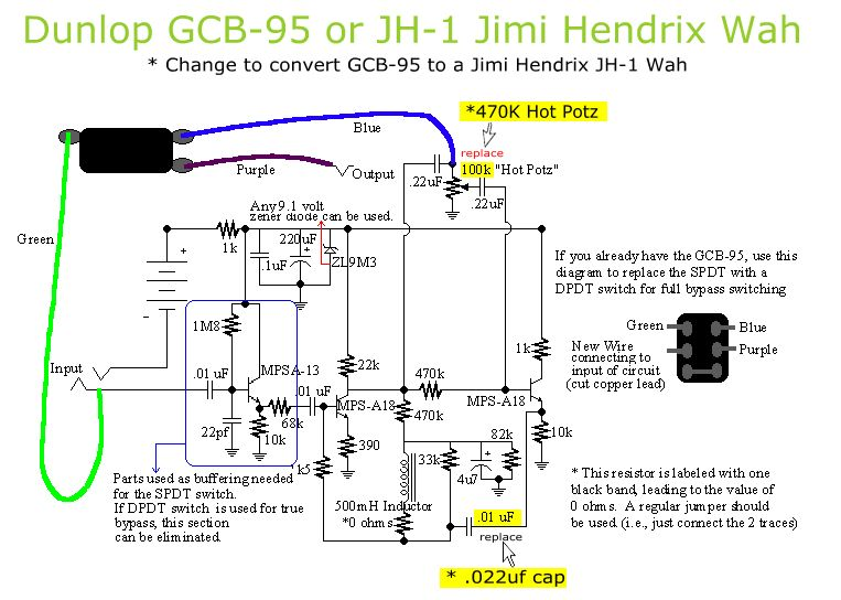 convert a gcb 95 wah to a jimi hendrix jh 1 wah only 2 parts need  ug munity jimi hendrix fuzz face wiring diagram