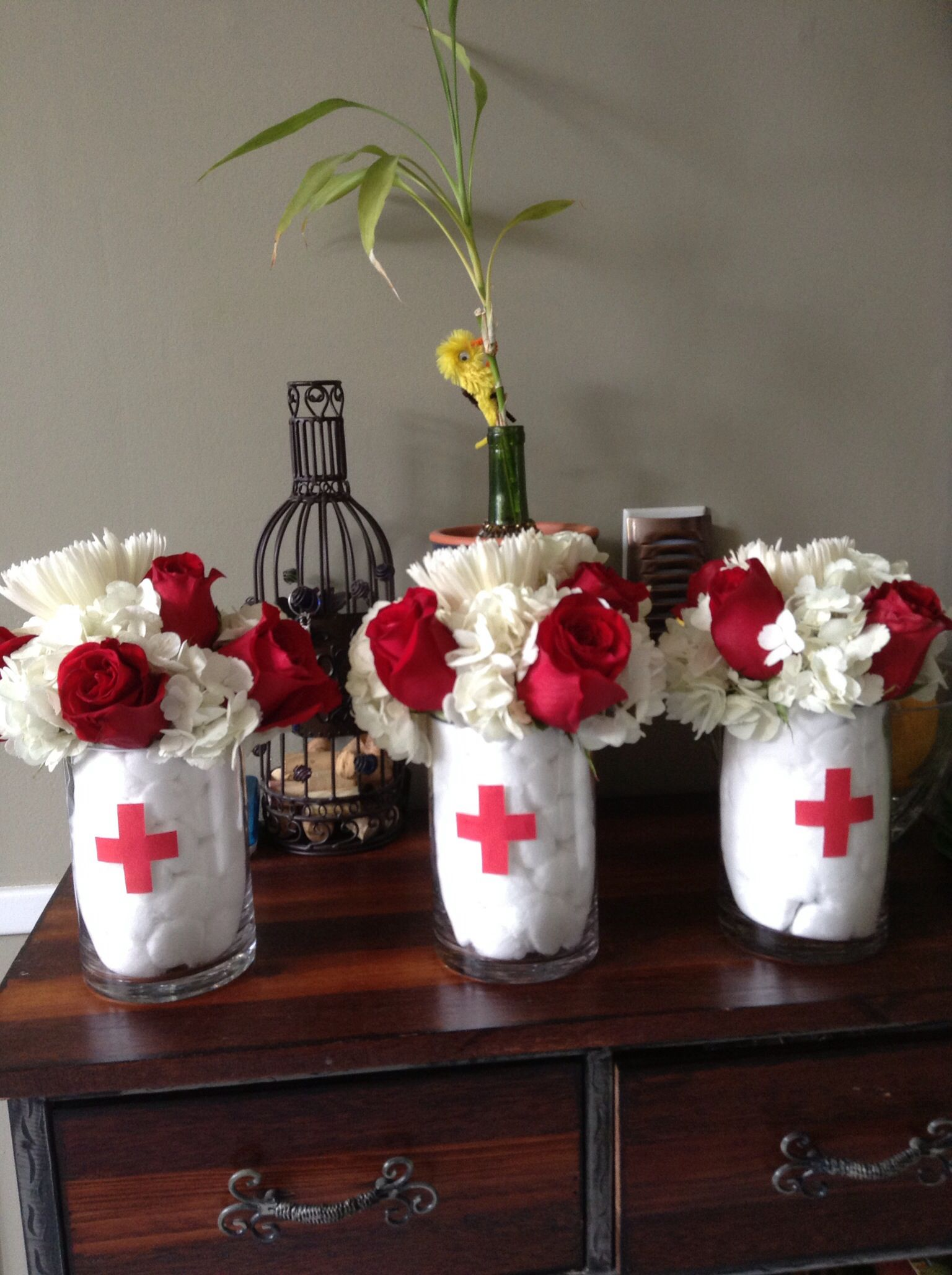 nurse theme centerpieces by connie my creations  mason jar centerpieces for graduation party