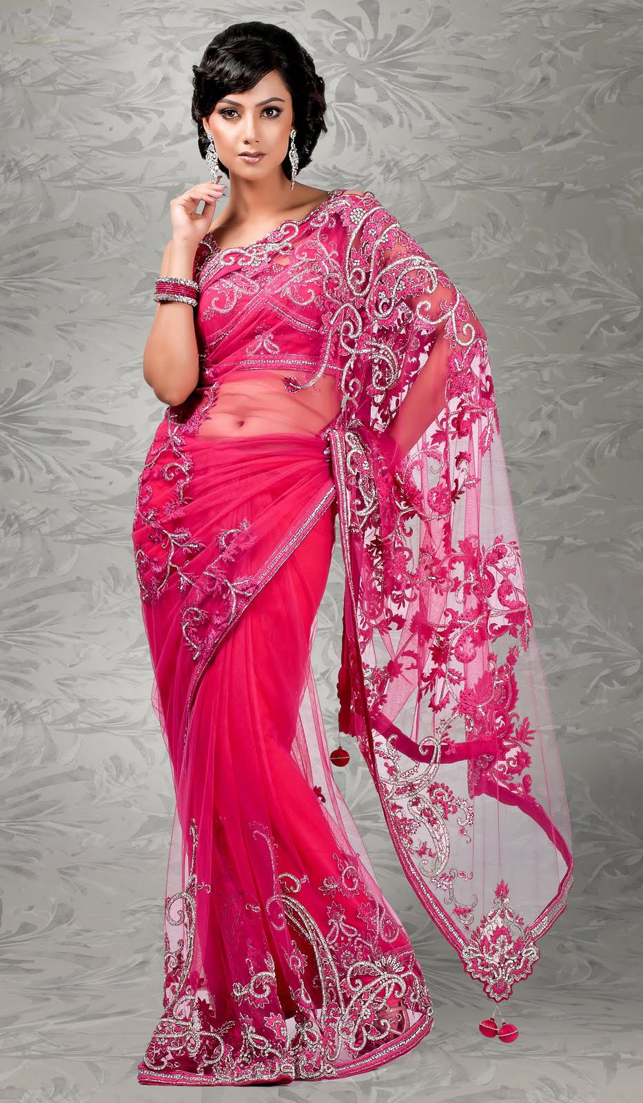 Deep Pink Net Indian Fashion Saree Cote Mode Pinterest Indian Fashion Saree And Saris