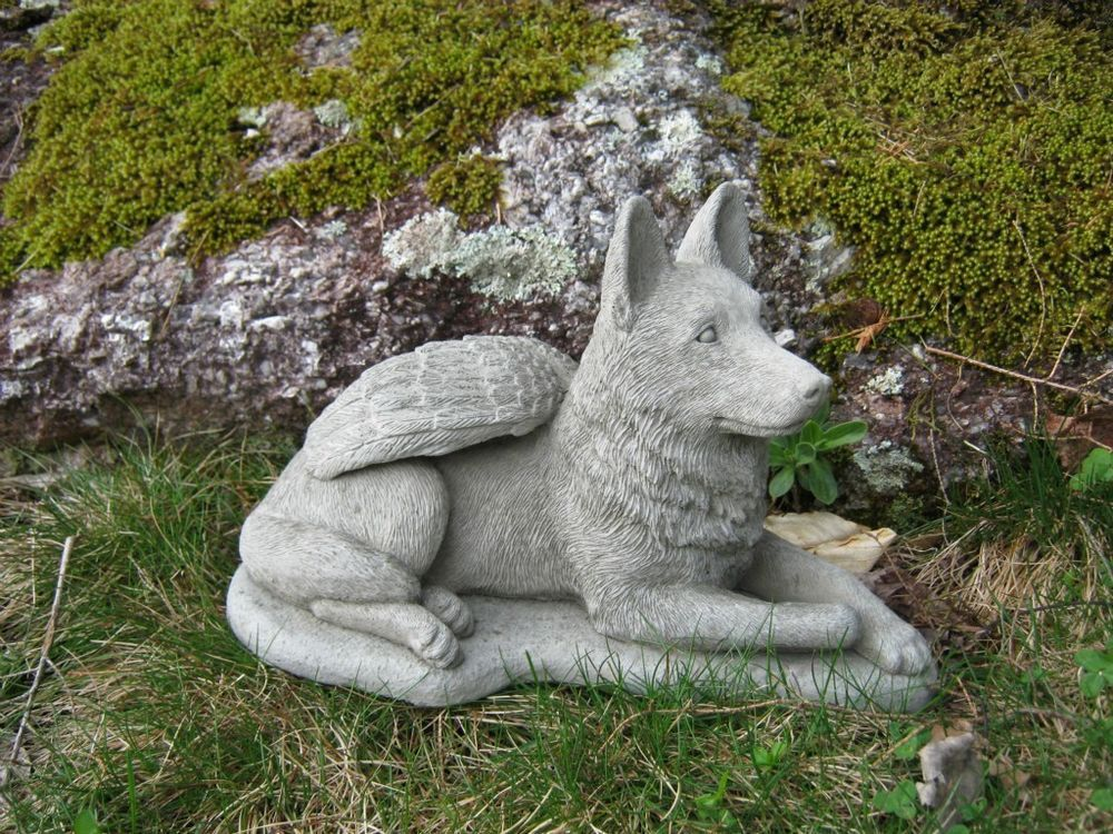 German Shepherd Dog Angel Concrete Statue Cement Gray Pet Memorial