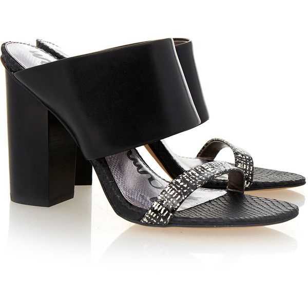 Sam Edelman Yoselin Black Crosshatch Leather Mule ($115) ❤ liked on Polyvore featuring shoes, black, black mules, open toe mules, slip on shoes, black leather shoes and black leather mules