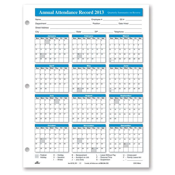 2013 Attendance Calendars Printable | Annual Attendance Record