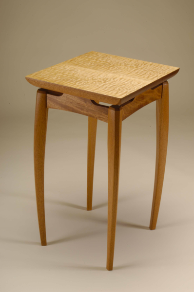 Mahogany And Quilted Maple Side Table