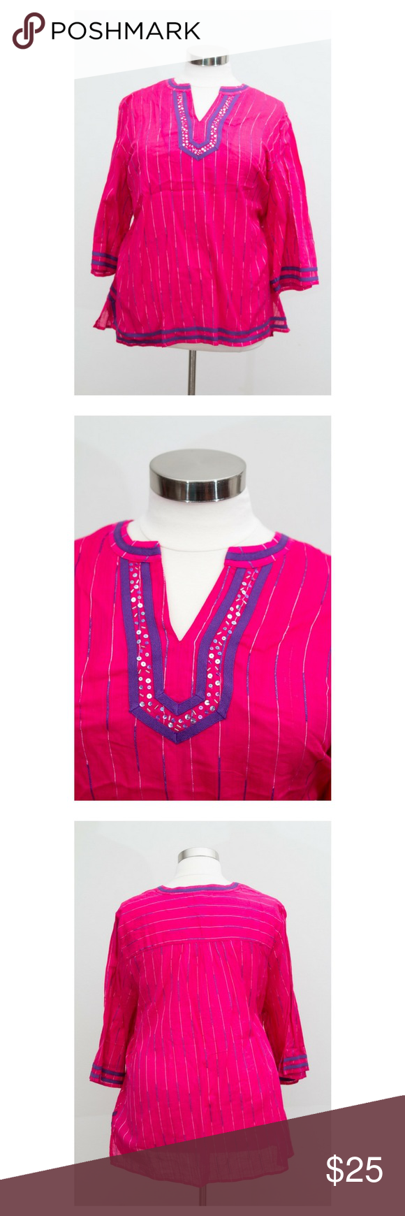 Catherine's NWOT Pink Bohemian Top Size 3X. Please note this top is NWOT and to prevent returns the tag has been marked through. Catherines Tops